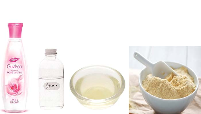 Glycerin, Besan & Rose Water for Even Skin Tone