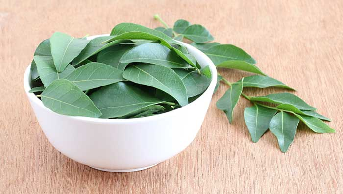 Curry leaves and coconut hair mask
